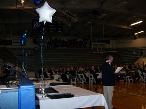 "The ""old"" FSHS gym was filled with alumni for the Blue Line Reunion.  Alumnus Mark Riggins was master of ceremonies."