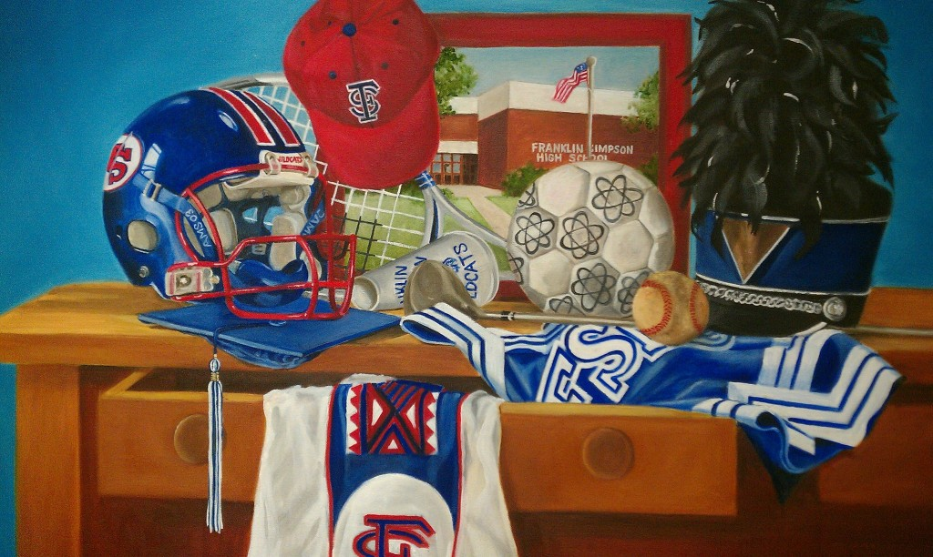 Painting by Carolyn Lanham of Franklin-Simpson memorabilia
